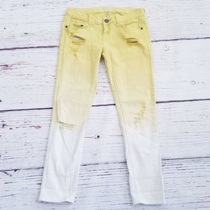 Yellow & White Ombre Distressed Skinny Jeans